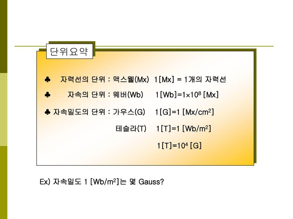 단위요약 ♣ 자력선의 단위 : 맥스웰(Mx) 1[Mx] = 1개의 자력선